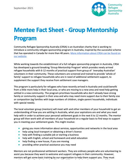 Mentee Fact Sheet – Group Mentorship Program (English)
